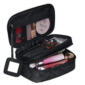 Trousse à Maquillage Femme Voyage,Trousse de Toilette Portable (9 * 5.5 * 4 inch), 2 Couche Grande Capacité Sac à Cosmétiques avec Brosse Compartiment et Miroir