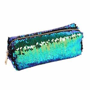 Trousse de maquillage à paillettes pour queue de sirène – Petit sac de maquillage (vert + noir) – Utile et pratique