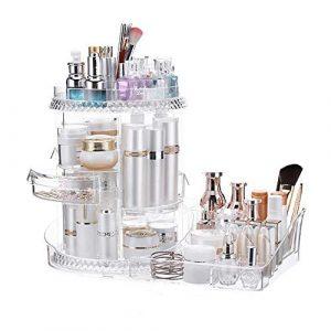 Trousse Maquillage Effacer 360 degrés de rotation circulaire cosmétique Boîte de rangement Présentoir de maquillage, Support de rangement, boîte de rangement Boîte Partition, grande capacité Coiffeuse