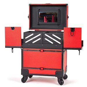 Trousse Maquillage Multifonction 360 degrés de roues 3-en-1 en aluminium Artiste Roulant Trolley Maquillage Train Cosmétique Organisateur Boîte De Rangement pour les Pinceaux de Maquillage Cosmétiques