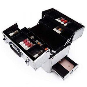 Trousse Maquillage Sac cosmétique portatif de capacité élevée pour le maquillage de beauté et pour le voyage quotidien et le stockage quotidien des filles avec des plateaux se fermant pour les Pinceau
