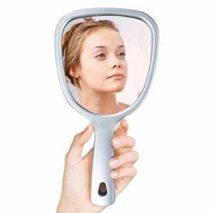 UMI. par Amazon – Miroir à Main Miroir de Maquillage Miroir Double Face avec poignée Miroir de Voyage Grossissement 1x/2x/3x,Argent