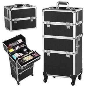 Yaheetech Mallette à Maquillage Valise de Cosmetic Bijoux Beauty Case Trolley Coiffure Nail Professionnel pour Voyage Noir