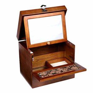 ZXL Boîte à Maquillage avec dortoir en Bois Massif avec tiroir de Type Bureau Cosmétiques Soins de la Peau Stockage Pansement Maquillage 2 Couleurs (Couleur: A)