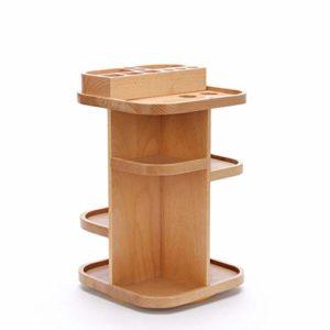 Zyj stores-Coffret Maquillage en Bois 360 degrés Rotation boîte de Rangement cosmétique en Bois Bureau Dressage Tableau de Soins de la Peau (Color : Wood, Taille : M)