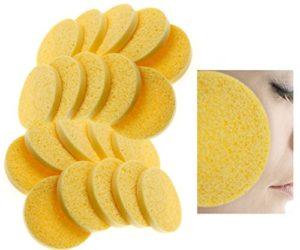 20 x Eponge Houpette faciales Rond de Démaquillage Nettoyage Masque Soin Visage Peau Jaune 8x8cm