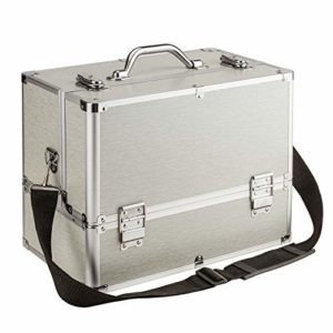 AMASAVA Mallette Maquillage Beauty Case avec cloison Valise Maquillage Coffret cosmétique Boîte à Maquillage, avec Bretelle et clé Coffrets Professionnelle – 37.5 × 24 × 28.5cm(Argent)