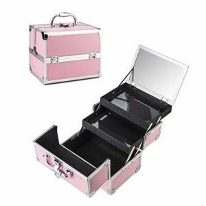 Amasava Trousses à Maquillage Mallette Maquillage avec cloison Boîte à Maquillage Beauty Case avec clé Coffrets Professionnelle Valise Maquillage Coffret cosmétique – 36 × 21.5 × 25.5cm