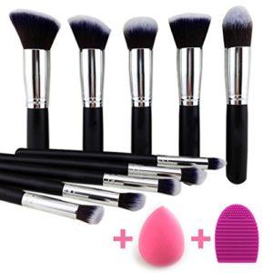 BEAKEY Lot de brosse de maquillage Premium synthétique Kabuki Fond de teint poudre visage Blush Fard à paupières Pinceaux Maquillage kit de brosse avec blender éponge et brosse Oeuf (10 + 2pcs)