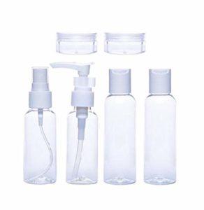 Beeria Lot de 6 flacons de Lotion en Plastique Transparent Vaporisateur pour Produits de Toilette Portables, récipients cosmétiques Anti-Fuite pour Le Remplissage de lotions shampooing crèmes