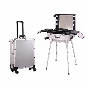 Caisse de train cosmétique de chariot de Pro avec six DEL/support/miroir étui à roulettes de maquillage glissant, organisateur portable, chariot de beauté,Argent,WhiteLight