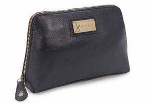 Catwalk Collection Handbags – Cuir Vintage – Petit Pochette/Trousse de Maquillage/Toilette/Cosmétique/Sac de Voyage – EMMA – Noir