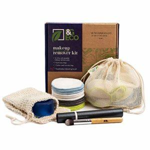 Coton démaquillant lavable   16 tampons de maquillage en bambou +2 sachets en sisal +1 sac à linge