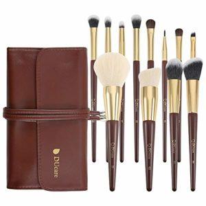 DUcare 12 pinceaux synthétiques de maquillage pour fond de teint, Kabuki, blush, correcteur, fard à paupières Avec sac cosmétique