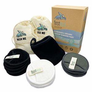 Firsteco® Premium Set: 15 lingettes démaquillantes lavables Ebook 2 sacs à linge 1 gant de toilette Pads en bamboo tampons cotons disques démaquillants réutilisables bio zéro déchet noir blanc