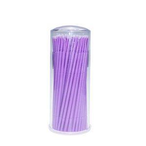 Frcolor Micro Brosse Pinceau Jetable Baguettes Cils Cosmétique Maquillage Pinceaux (Violet) – 100 Pièces