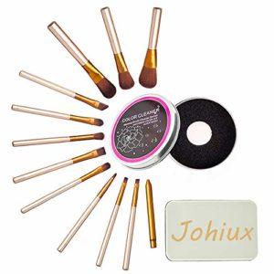 Johiux 12 Pcs Pinceaux Maquillage,Synthétique Pinceaux de maquillage, Professionnel Cosmétique Pinceaux Kit, Pinceau estompeur maquillage yeux Pinceau Fard à Paupières Sourcils Pinceau à lèvre.