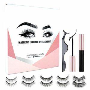 Johiux Faux Cils Magnétique Naturel Magnétique Eyeliner Kit, 5 Paires 3D Réutilisables Sans Colle Faux Cils Magnétiques et Eyeliner Magnetique.