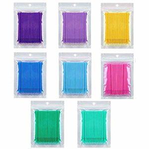 Kalolary 800 PCS Micro Brosses Applicateur, Micro Brosse Applicateur Jetable, Extension de Colle Cils Suppression Cils Outils Greffon pour Maquillage, Oral et Propre (8 couleurs)