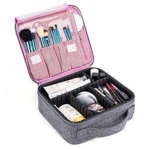 LOKASS Trousse Maquillage de Voyage Femme Sac de Cosmétique Étui de Maquillage Professionnel pour Rangement Cosmétique Pinceaux de Maquillage, avec Diviseurs Réglables (Gris)
