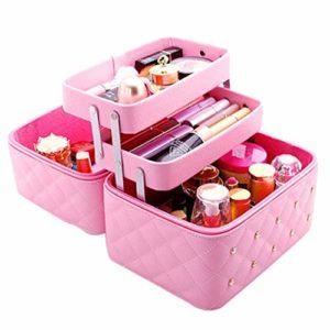 Mallette de maquillage maquillage avec miroir 25 x 19 x 21 cm Noir Rose Rose rose bonbon 25* 21* 19cm