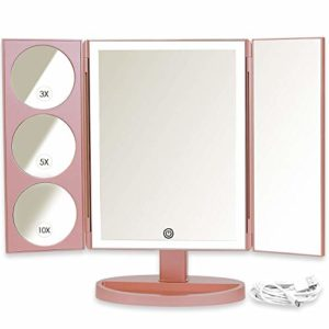 Mirrorvana Grand Miroir de Maquillage Professionel avec 36 LED, Miroir Grossissant Lumineux (x10 / x5 / x3), Or Rose