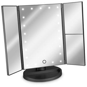 Navaris Miroir Lumineux LED 3 Faces à Poser – Miroir Maquillage Triptyque Pliable sur Pied avec Effet Grossissant x2 x3 – Pile ou USB – Noir