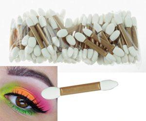 PhantomSky 50 Pièce Deux Extrémités Jetable Brosse le Eponge Latex pour Fard à Paupières Outils de Maquillage Cosmétique