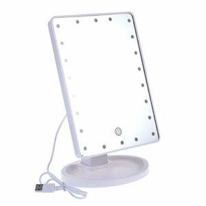 PUNGDUNK Miroir de Maquillage éclairé avec 22 Lampes Del Alimentation USB dimmable à écran Tactile (Blanc)
