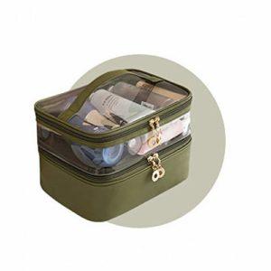 Sac CosméTique Double Sac De Rangement CosméTique éTanche Portable Avec Trousse à Maquillage Grande Capacité Femme Vert