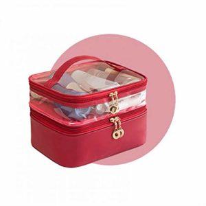Sac CosméTique Double Sac De Rangement CosméTique ImperméAble à L'Eau Portable Avec Trousse à Maquillage Grande Capacité Femelle Rouge