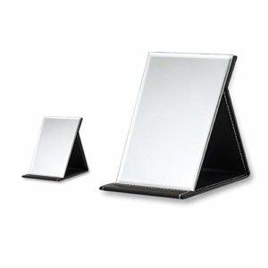 SITAKE 2Pcs Miroir de Maquillage Pliable en Cuir PU – Miroir De Maquillage De Table Pliable pour Voyage, Beauté (Mini & L, Noir)