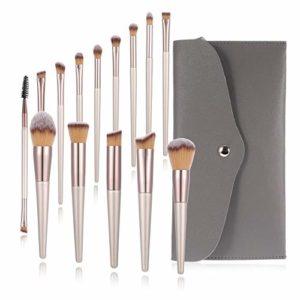 SUSSURRO 14 Pinceaux de maquillage avec Sac de Rangement Exquis, Brosse Cosmétique Professionnel pour fond de teint, blush, correcteur, fard à paupières