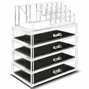 TRESKO® Boîte en Acrylique Transparent pour Ranger Votre Maquillage Organisateur (6 tiroirs (23,7 x 13,5 x 27,5 cm))
