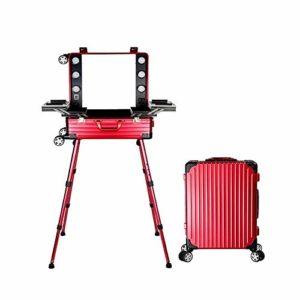 Trolley de maquillage à 4 roues avec trousse de maquillage à haut-parleur Trousse de beauté Alutrolley avec pieds à LED pour pieds télescopiques