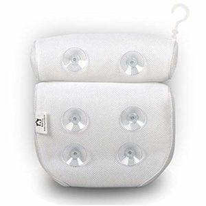 Underleaf 1 pc texture légère oreiller de bain net dames pratique blanc antidérapant éponge ventouse