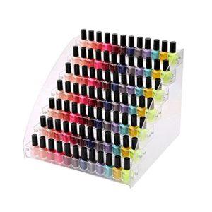 Waroomss Support de vernis à ongles, organisateur de vernis à ongles acrylique transparent universel Présentoir de vernis à ongles gain de place pouvant contenir jusqu'à 60 bouteilles (2/3/4/5/6/7 cou