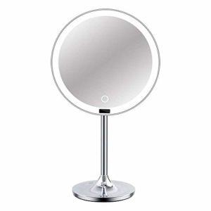 Wlylyhjy Maquillage Voyage LED Compact Mirror, Maquillage USB Miroir avec des Lumières, Corps Éponge Antidérapante; Rotation Intégré 4000Ah Batterie Au Lithium Intelligent