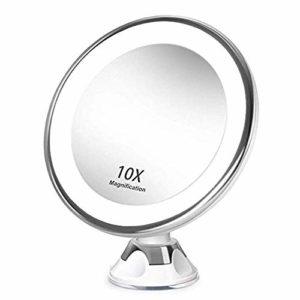 wuxingmeili Miroirs Grossissant x10 Miroir Maquillage Lumineux LED de Voyage avec Ventouse Miroir Grossissant Mural Rotation à 360°Miroir a Poser Idéal pour Rasage et Maquillage