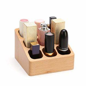 XUEXIU Rouge À Lèvres Boîte De Rangement Multi-Ongles en Bois Ongles Lip Glaze Lip Gloss Polish Bureau Rack Finition (Color : Wood, Size : 9.8 * 9.6 * 6.5CM)