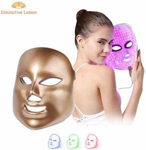 ZYQ Masque de beaute a 3 couleurs LED, Instrument de beaute, Masque de soin de la peau du visage, Traitement anti-age, raffermissant, tonifiant, anti-rides, Traitement de collagene et blanchiment,D'or