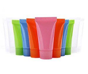 24pièces de 5ml vide rechargeable Plastique Souple Tube échantillon Bouteille Pot Pot Coque Parfait pour shampooing nettoyant Gel douche Lotion pour le corps Nettoyant visage (couleur aléatoire)