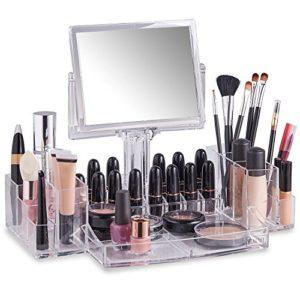 Beautify Présentoir Organisateur Maquillage avec Miroir Recto-Verso – Acrylique
