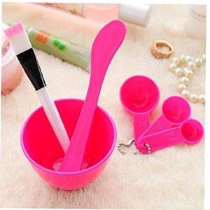 Casecover 1 Set 4 en 1 Masque de Bricolage Jatte Brosse cuillère bâton Brosse de beauté Outils Professionnels Soins du Visage Kits pour Les Femmes (Hot Pink)