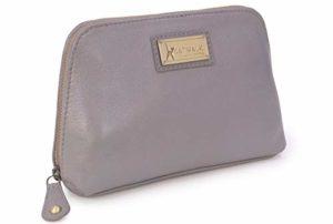 Catwalk Collection Handbags – Cuir Vintage – Petit Pochette/Trousse de Maquillage/Toilette/Cosmétique/Sac de Voyage – EMMA – Gris