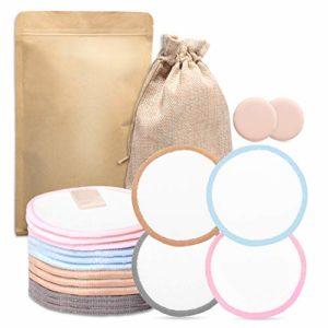 Coton Demaquillant Lavable, Pads Demaquillant Bio, FishOaky 16 Coussinet Dallaitement Lavable et Reutilisable丨Sac en Papier écologique丨2 éponge Maquillage pour le Visage, les Yeux (16 Pack)