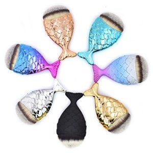 Dolovemk Chubby Mermaid Poisson brosses épi Bas Brosse souligner Poudre blush Fond de teint Maquillage Brosse Ensemble cadeau