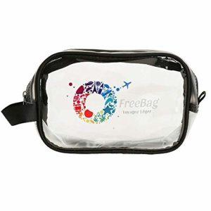 Freebag® Trousse de Toilette Transparente pour Avion en PVC Transparent pour Voyage Cabine – kit de Voyage Cabine approuvée par Le TSA et Les compagnies Low-Costs