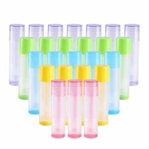 KINDPMA 50pcs Tubes Baume à Lèvres 5.5g Stick Tube Baume à Lèvres Vide 5 Couleurs Tube Plastique pour Fabriquer Baume à Lèvres Maison Flacon Fabrication DIY Baume