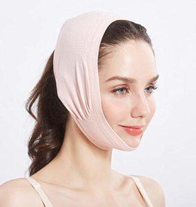 LadyBeauty Masque amincissant de visage de LinFace de forme de V, lifting de visage de masque de cou de beauté (Couleur : Pink)
